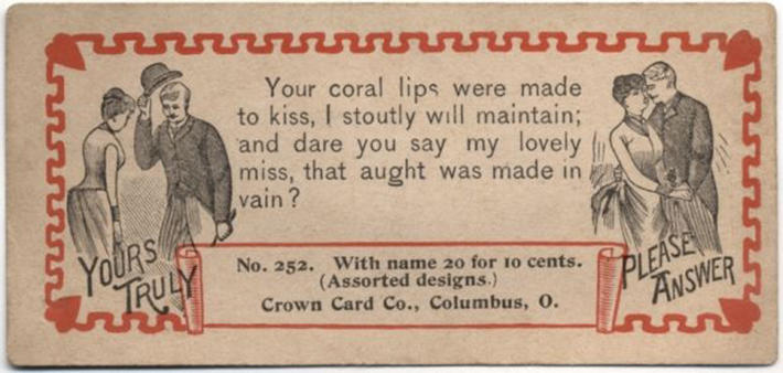 19 century pick up lines - business cards 6