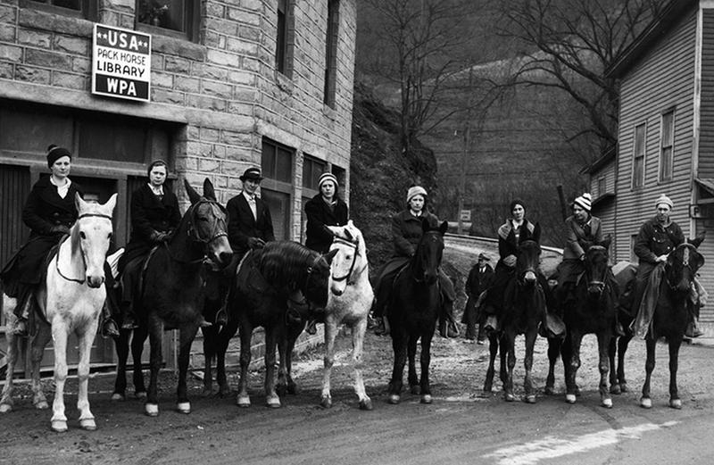Female Librarians on Horseback Delivering Books, ca. 1930s
