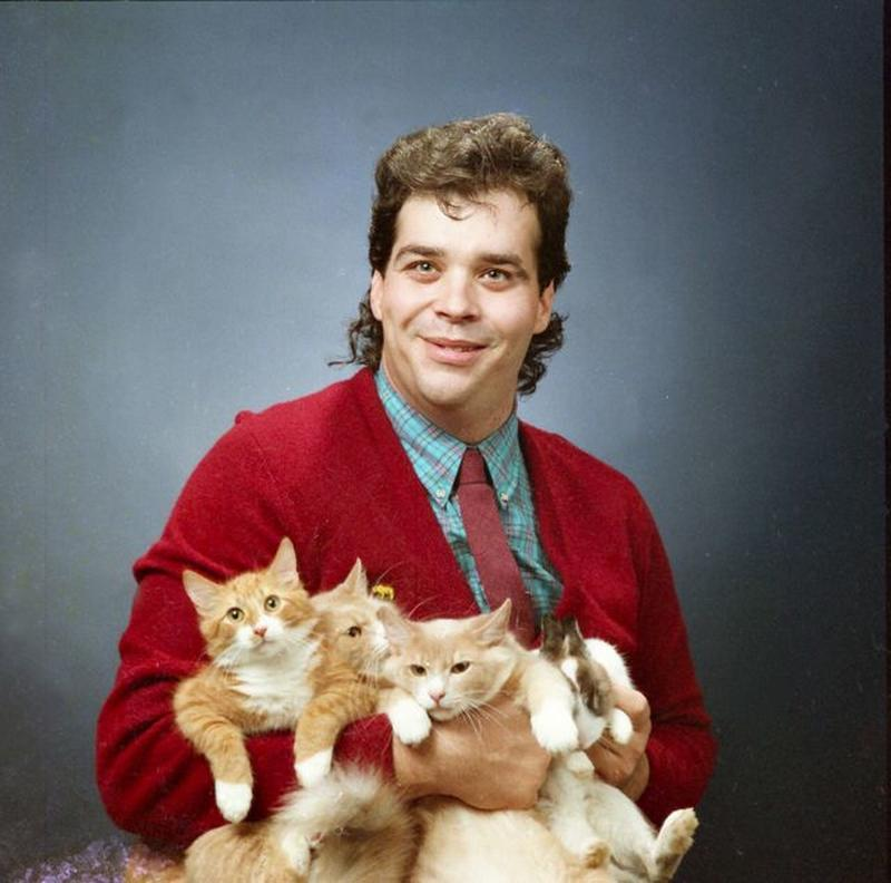 Men Posing With Their Cats 7