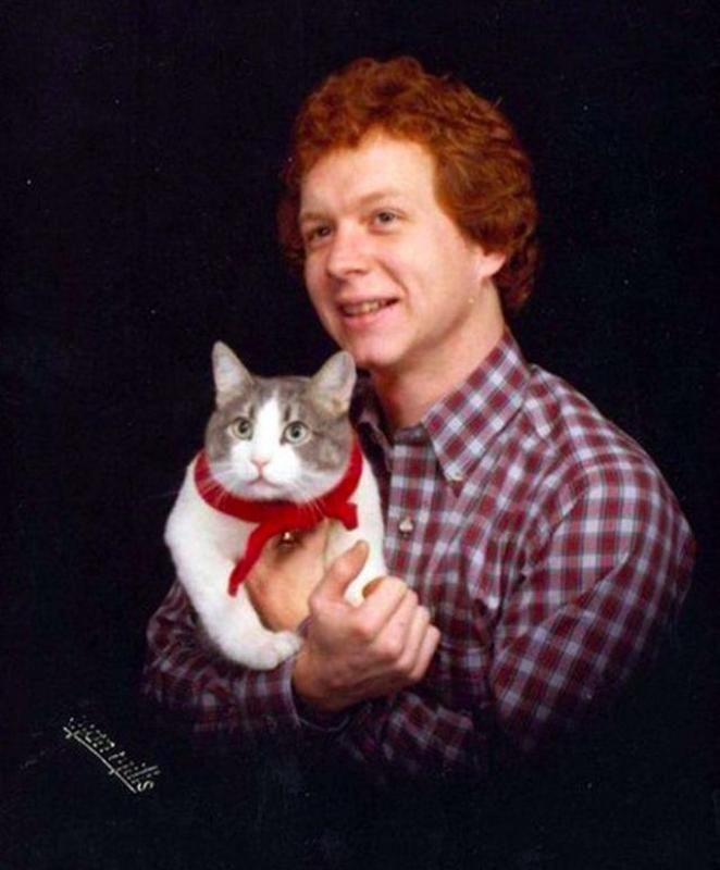 Men Posing With Their Cats 9